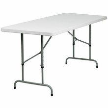 "Flash Furniture RB-3072ADJ-GG 30""W x 72""L Height Adjustable Granite White Plastic Folding Table"