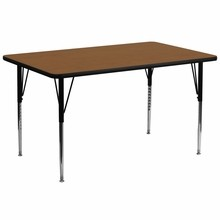 Flash Furniture XU-A3072-REC-OAK-H-A-GG 30''W x 72''L Rectangular Activity Table with 1.25'' Thick High Pressure Oak Laminate Top and Standard Height Adjustable Legs
