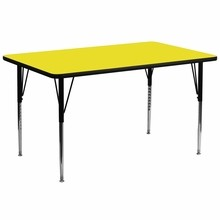 Flash Furniture XU-A3072-REC-YEL-H-A-GG 30''W x 72''L Rectangular Activity Table with 1.25'' Thick High Pressure Yellow Laminate Top and Standard Height Adjustable Legs