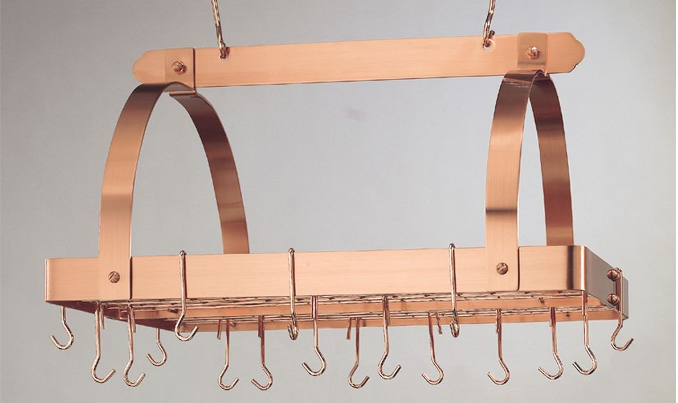 "Old Dutch International 101CP Satin Copper Pot Rack with Grid, 24 Hooks, 30"" x 20 1/2"" x 15 3/4"""