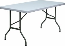 "Flash Furniture DAD-YCZ-152-GG 30""W x 60""L Plastic Rectangular Folding Table Granite White"