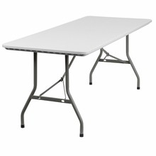 "Flash Furniture RB-3072-GG 30""W x 72""L Plastic Rectangular Folding Table Granite White"