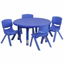 Flash Furniture YU-YCX-0073-2-ROUND-TBL-BLUE-E-GG 33'' Round Adjustable Blue Plastic Activity Table Set with 4 School Stack Chairs