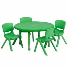 """Flash Furniture YU-YCX-0073-2-ROUND-TBL-GREEN-E-GG 33"""" Round Adjustable Green Plastic Activity Table Set with 4 School Stack Chairs"""
