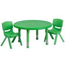 "Flash Furniture YU-YCX-0073-2-ROUND-TBL-GREEN-R-GG 33"" Round Adjustable Green Plastic Activity Table Set with 2 School Stack Chairs"