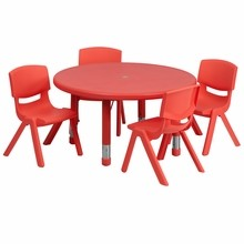 33'' Round Adjustable Red Plastic Activity Table Set with 4 School Stack Chairs