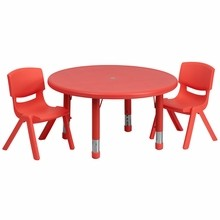 Flash Furniture YU-YCX-0073-2-ROUND-TBL-RED-R-GG 33'' Round Adjustable Red Plastic Activity Table Set with 2 School Stack Chairs