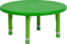 33'' Round Height Adjustable Green Plastic Activity Table
