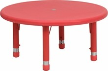 Flash Furniture YU-YCX-007-2-ROUND-TBL-RED-GG 33'' Round Height Adjustable Red Plastic Activity Table