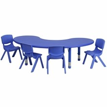 "Flash Furniture YU-YCX-0043-2-MOON-TBL-BLUE-E-GG 35""W x 65""L Adjustable Half-Moon Blue Plastic Activity Table Set with 4 School Stack Chairs"