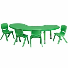 "Flash Furniture YU-YCX-0043-2-MOON-TBL-GREEN-E-GG 35""W x 65""L Adjustable Half-Moon Green Plastic Activity Table Set with 4 School Stack Chairs"