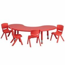 35''W x 65''L Adjustable Half-Moon Red Plastic Activity Table Set with 4 School Stack Chairs