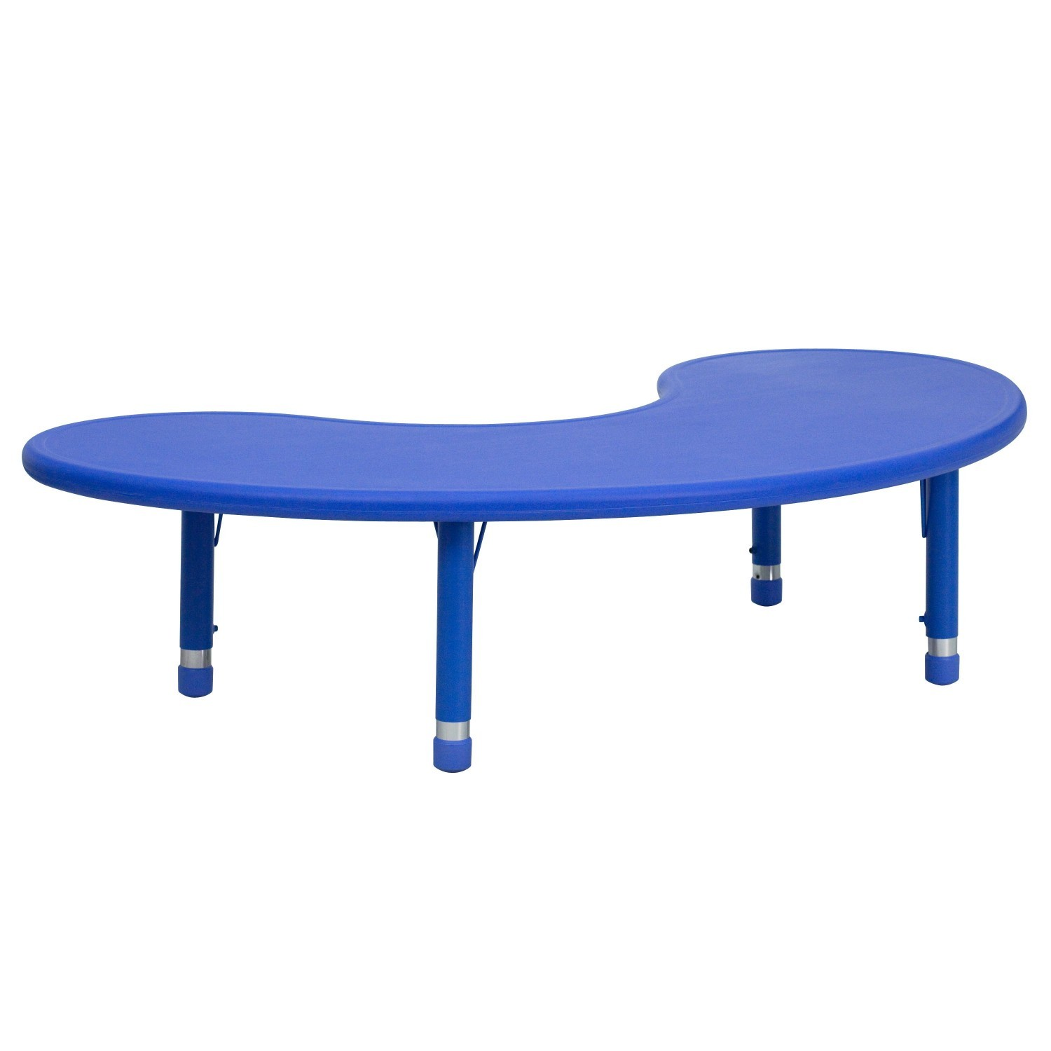 Flash Furniture YU-YCX-004-2-MOON-TBL-BLUE-GG 35''W x 65''L Height Adjustable Half-Moon Blue Plastic Activity Table