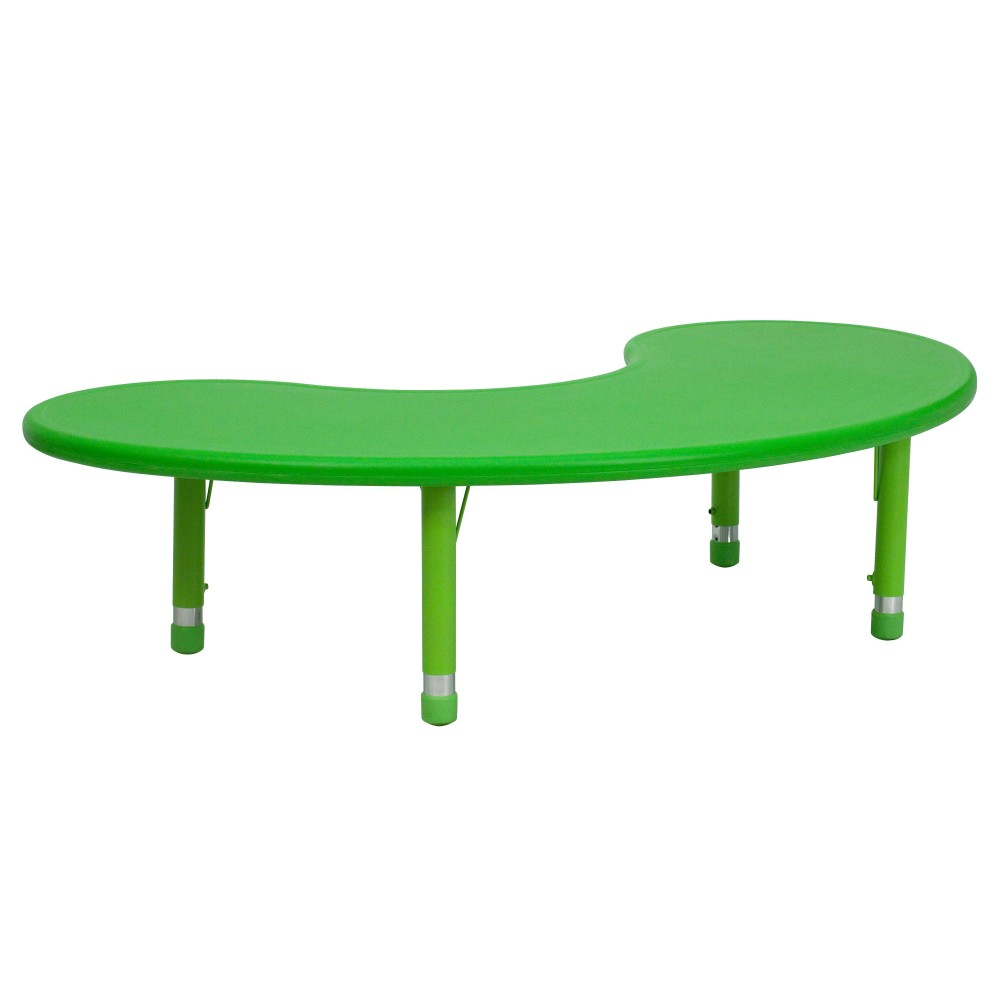 Flash Furniture YU-YCX-004-2-MOON-TBL-GREEN-GG 35''W x 65''L Height Adjustable Half-Moon Green Plastic Activity Table