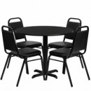 36'' Round Black Laminate Table Set with X Base with 4 Black Trapezoidal Back Banquet Chairs