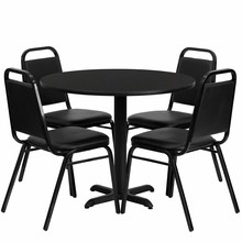 Flash Furniture HDBF1001-GG 36'' Round Black Laminate Table Set with 4 Black Trapezoidal Back Banquet Chair