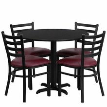 36'' Round Black Laminate Table Set with X Base with 4 Ladder Back Metal Chairs - Burgundy Vinyl Seat