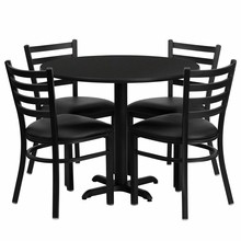 36'' Round Black Laminate Table Set with X Base with 4 Ladder Back Metal Chairs - Black Vinyl Seat