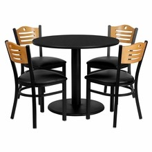 Flash Furniture MD-0009-GG 36'' Round Black Laminate Table Set with 4 Wood Slat Back Metal Chairs, Black Vinyl Seat