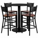 36'' Round Black Laminate Table Set with 4 Grid Back Metal Bar Stools - Cherry Wood Seat