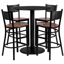 Flash Furniture MD-0018-GG 36'' Round Black Laminate Table Set with 4 Grid Back Metal Bar Stools, Cherry Wood Seat