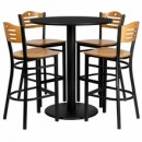"Flash Furniture MD-0020-GG 36"" Round Black Laminate Table Set with 4 Wood Slat Back Metal Bar Stools, Natural Wood Seat"