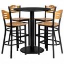 Flash Furniture MD-0020-GG 36'' Round Black Laminate Table Set with 4 Wood Slat Back Metal Bar Stools, Natural Wood Seat