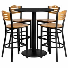 36'' Round Black Laminate Table Set with 4 Wood Slat Back Metal Bar Stools - Natural Wood Seat