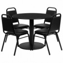 36'' Round Black Laminate Table Set with Round Base with 4 Black Trapezoidal Back Banquet Chairs