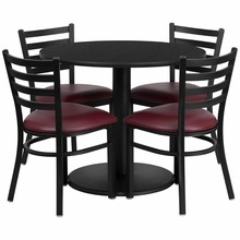 Flash Furniture RSRB1005-GG 36'' Round Black Laminate Table Set with Round Base with 4 Ladder Back Metal Chairs Burgundy Vinyl Seat