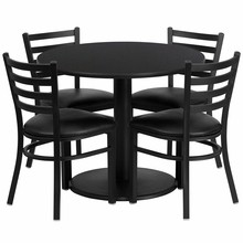 Flash Furniture RSRB1029-GG 36'' Round Black Laminate Table Set with Round Base with 4 Ladder Back Metal Chairs, Black Vinyl Seat