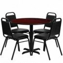 36'' Round Mahogany Laminate Table Set with X Base with 4 Black Trapezoidal Back Banquet Chairs