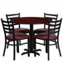36'' Round Mahogany Laminate Table Set with X Base with 4 Ladder Back Metal Chairs - Burgundy Vinyl Seat