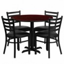 36'' Round Mahogany Laminate Table Set with X Base with 4 Ladder Back Metal Chairs - Black Vinyl Seat