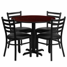 Flash Furniture HDBF1030-GG 36'' Round Mahogany Laminate Table Set with 4 Ladder Back Metal Chairs Black Vinyl Seat
