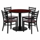 Flash Furniture MD-0004-GG 36'' Round Mahogany Laminate Table Set with 4 Ladder Back Metal Chairs, Mahogany Wood Seat
