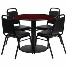 36'' Round Mahogany Laminate Table Set with Round Base with 4 Black Trapezoidal Back Banquet Chairs