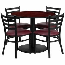 36'' Round Mahogany Laminate Table Set with Round Base with 4 Ladder Back Metal Chairs - Burgundy Vinyl Seat