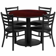 36'' Round Mahogany Laminate Table Set with Round Base with 4 Ladder Back Metal Chairs - Black Vinyl Seat