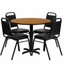36'' Round Natural Laminate Table Set with X Base with 4 Black Trapezoidal Back Banquet Chairs