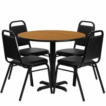 Flash Furniture HDBF1003-GG 36'' Round Natural Laminate Table Set with 4 Black Trapezoidal Back Banquet Chair