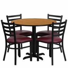 36'' Round Natural Laminate Table Set with X Base with 4 Ladder Back Metal Chairs - Burgundy Vinyl Seat