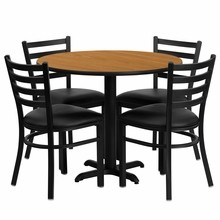 36'' Round Natural Laminate Table Set with X Base with 4 Ladder Back Metal Chairs - Black Vinyl Seat