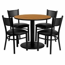 Flash Furniture MD-0006-GG 36'' Round Natural Laminate Table Set with 4 Grid Back Metal Chairs, Black Vinyl Seat