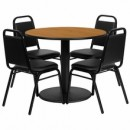 36'' Round Natural Laminate Table Set with Round Base with 4 Black Trapezoidal Back Banquet Chairs