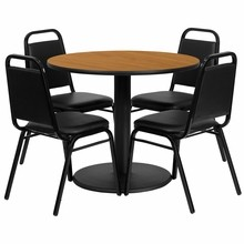 Flash Furniture RSRB1003-GG 36'' Round Natural Laminate Table Set with Round Base with 4 Black Trapezoidal Back Banquet Chairs