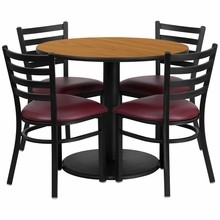 36'' Round Natural Laminate Table Set with Round Base with 4 Ladder Back Metal Chairs - Burgundy Vinyl Seat