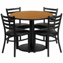 Flash Furniture RSRB1031-GG 36'' Round Natural Laminate Table Set with Round Base with 4 Ladder Back Metal Chairs, Black Vinyl Seat