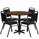 36'' Round Walnut Laminate Table Set with X Base with 4 Black Trapezoidal Back Banquet Chairs