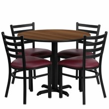 36'' Round Walnut Laminate Table Set with with X Base 4 Ladder Back Metal Chairs - Burgundy Vinyl Seat